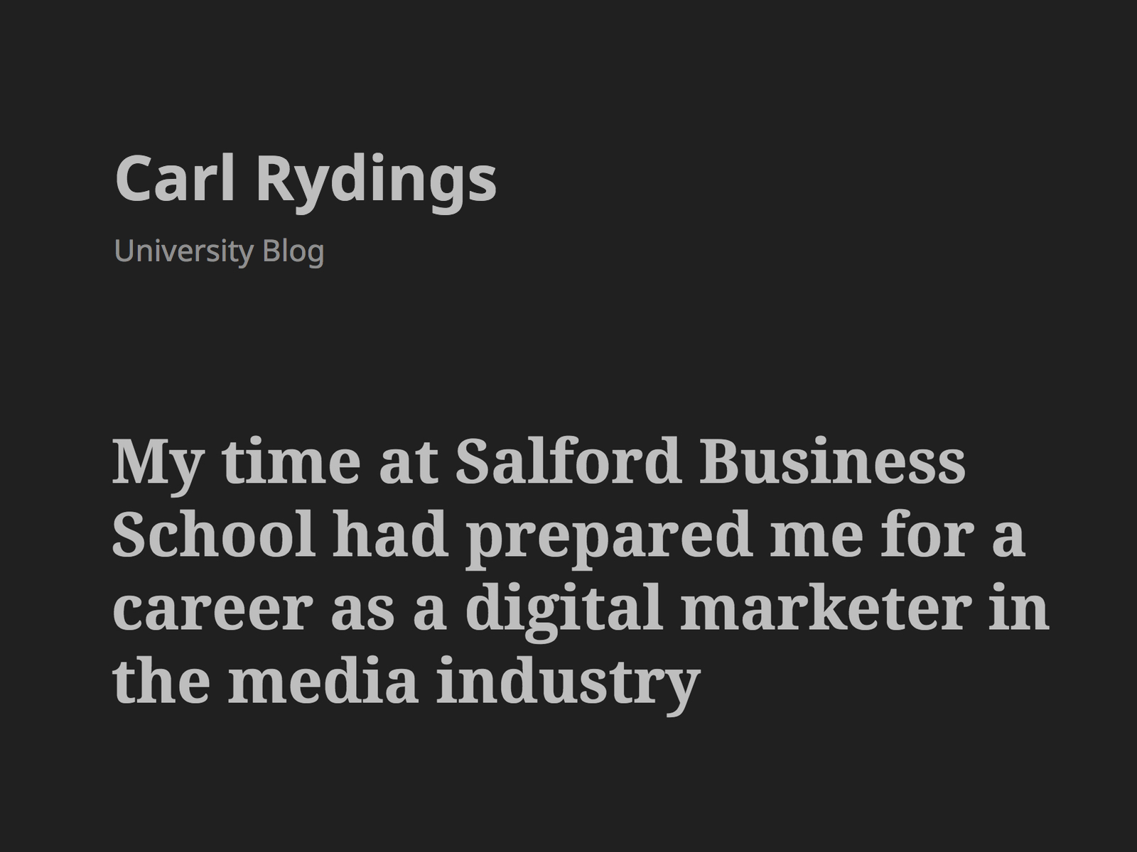My time at Salford Business School